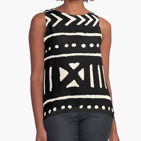 afrikanischer Schlamm Tuch schwarz und weiß Ärmelloses Top