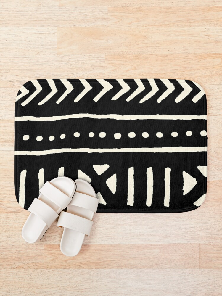 Alternate view of african mud cloth black and white Bath Mat
