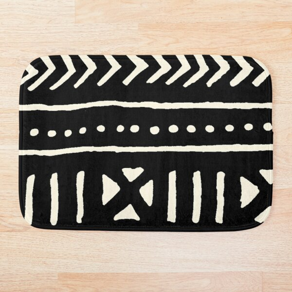african mud cloth black and white Bath Mat