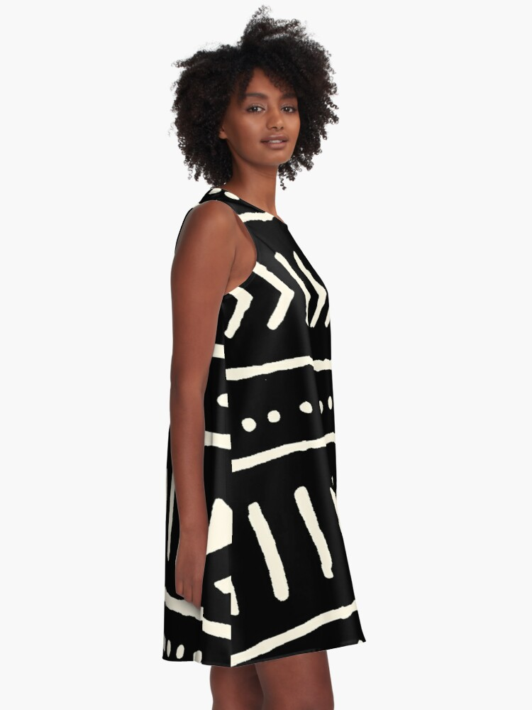 Alternate view of african mud cloth black and white A-Line Dress