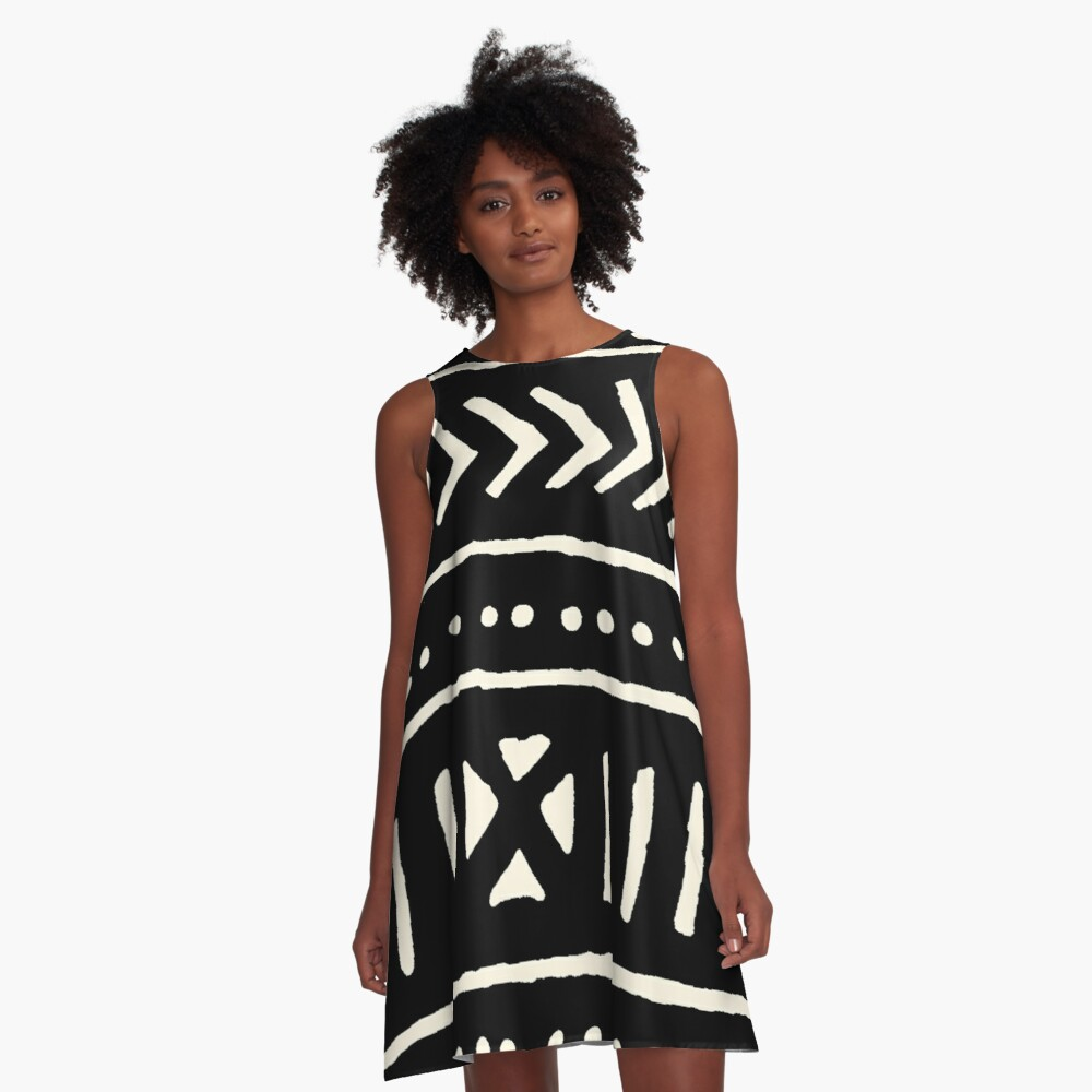 african mud cloth black and white A-Line Dress