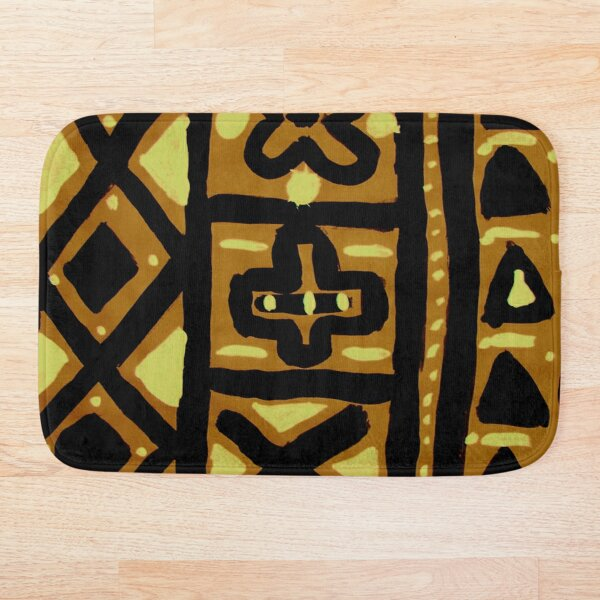 african mud cloth  Bath Mat