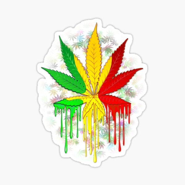 Marijuana Leaf Rasta Colors Dripping Paint Sticker