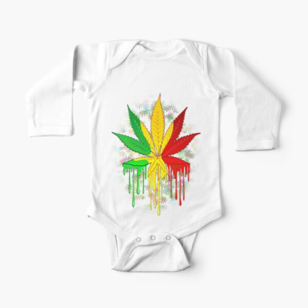 Marijuana Leaf Rasta Colors Dripping Paint Long Sleeve Baby One-Piece