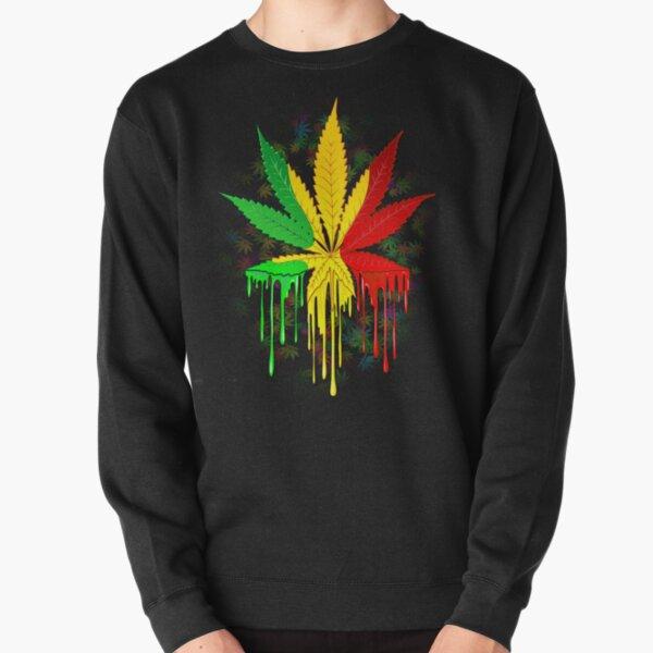 Marijuana Leaf Rasta Colors Dripping Paint Pullover Sweatshirt