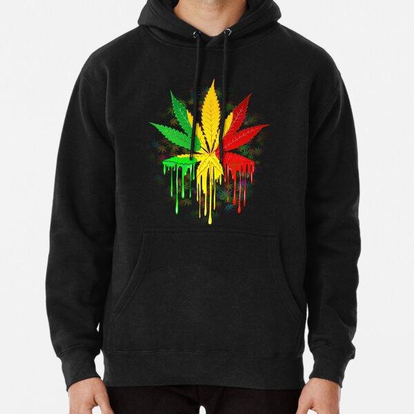 Marijuana Leaf Rasta Colors Dripping Paint Pullover Hoodie