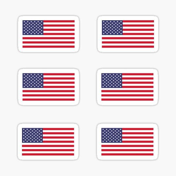 6 American Flags Sticker
