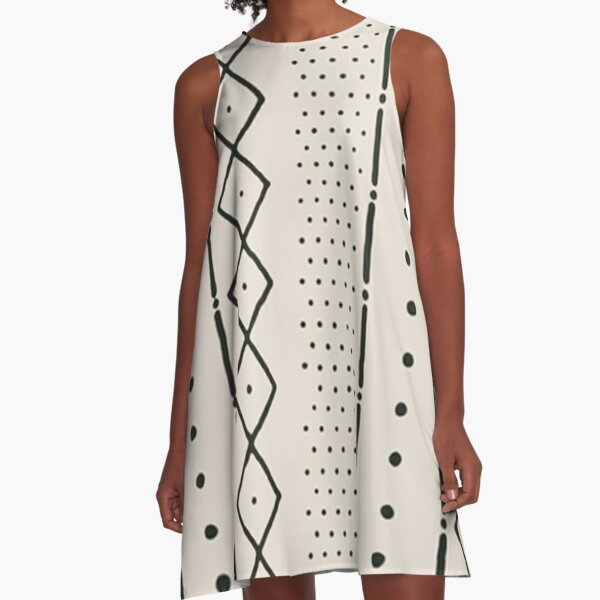 beige african mudcloth A-Line Dress