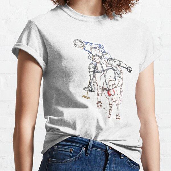 Polospieler skizziert blau Classic T-Shirt