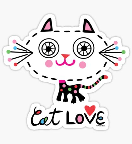 Cat Love - heart Sticker