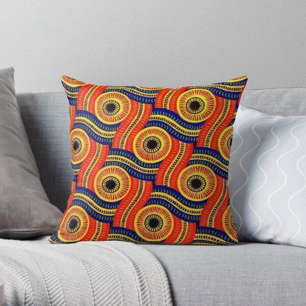 African Ankara print red Throw Pillow