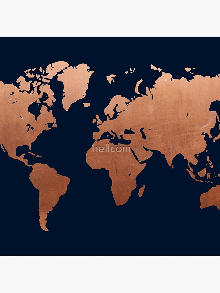 World map - Navy blue and copper by hellcom