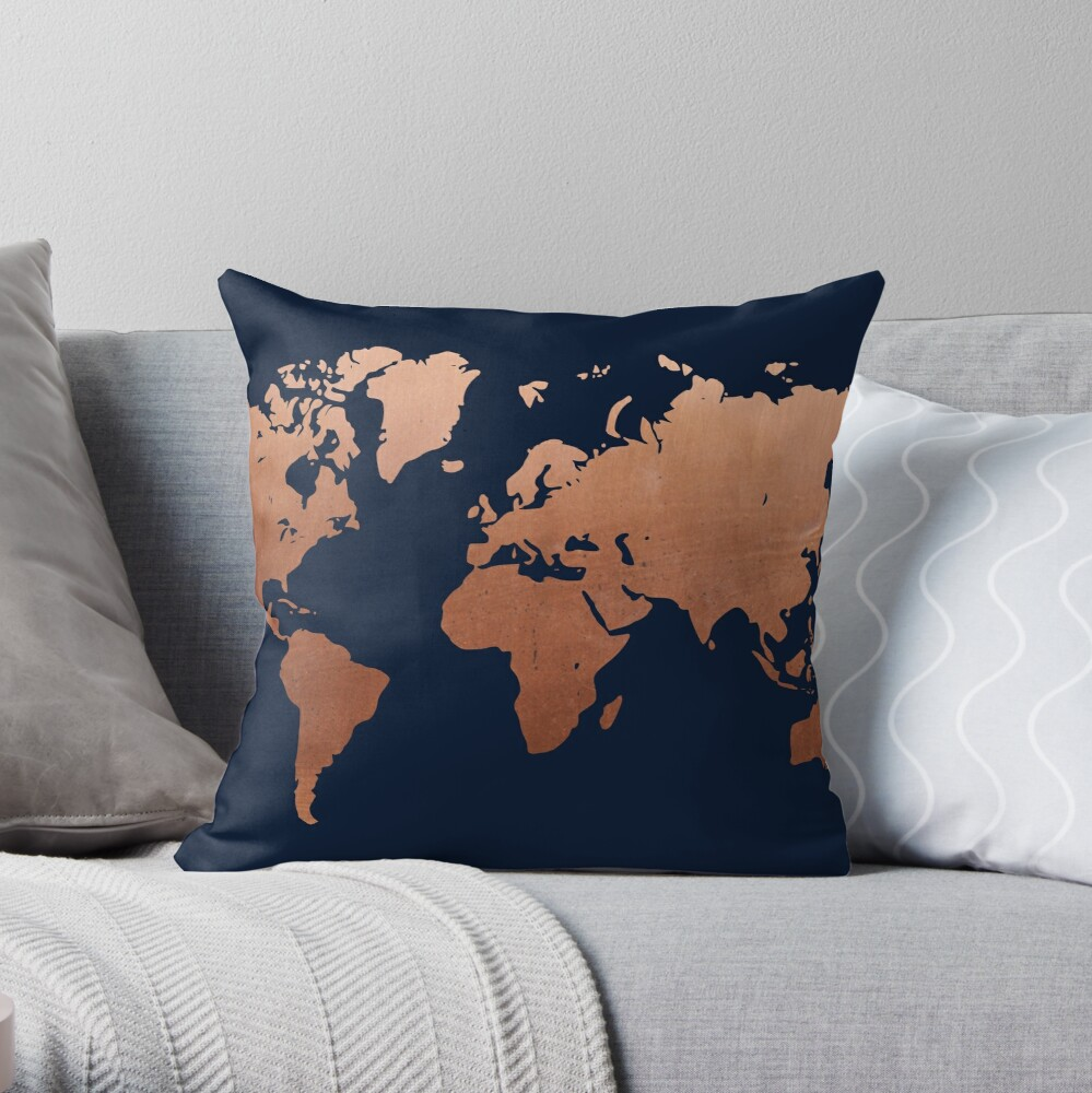 World map - Navy blue and copper Throw Pillow