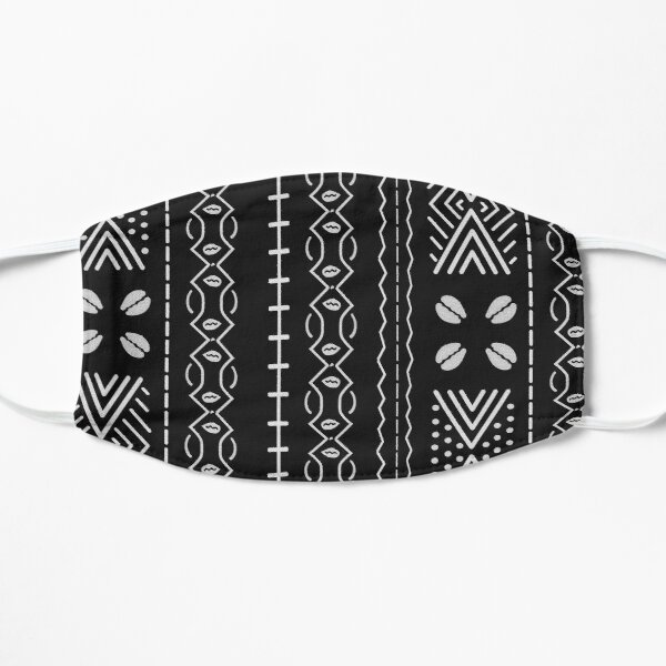 Black mudcloth with shells Mask