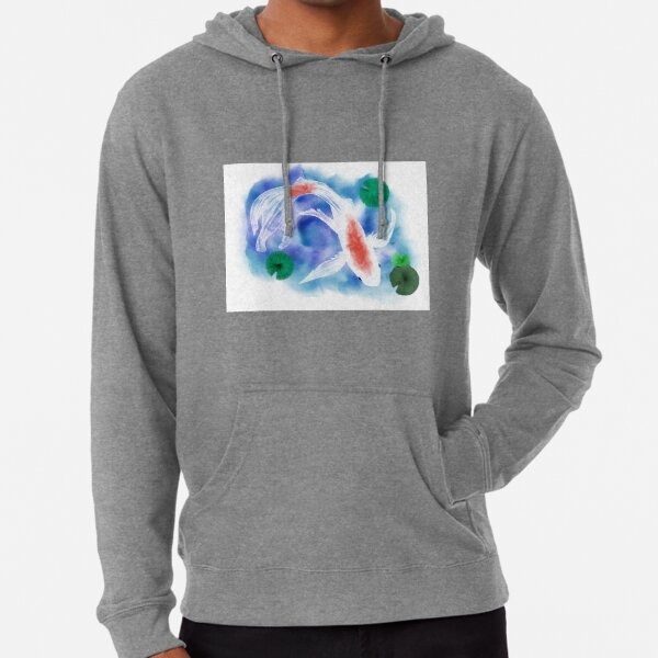Watercolor White Goldfish Lightweight Hoodie
