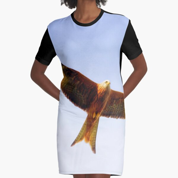 Red Kite in flight Graphic T-Shirt Dress