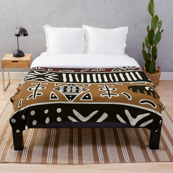 African mud cloth with elephants Throw Blanket