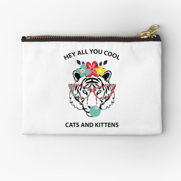 Hey all you cool cats and kittens - black tiger with glasses, gum and flowers Zipper Pouch
