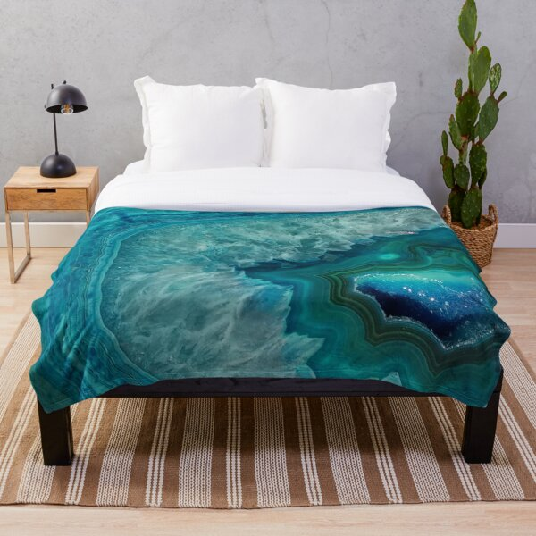 Turquoise teal agate stone Throw Blanket