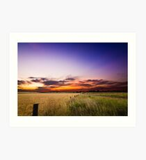 Sunset Over The Wheat Field Art Print