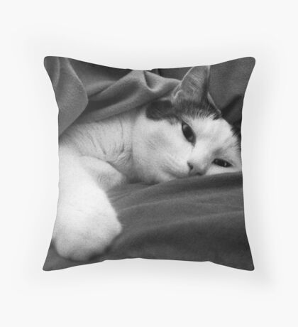 Munchkin in Mama's bed! Throw Pillow