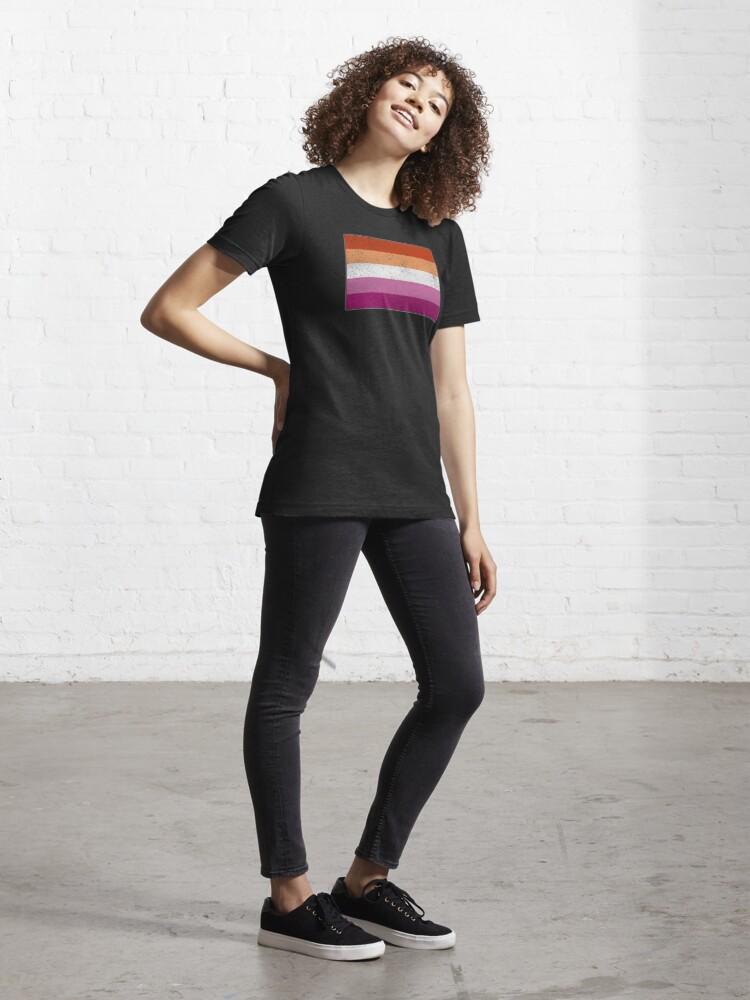 Alternate view of Distressed Lesbian Pride Flag Essential T-Shirt