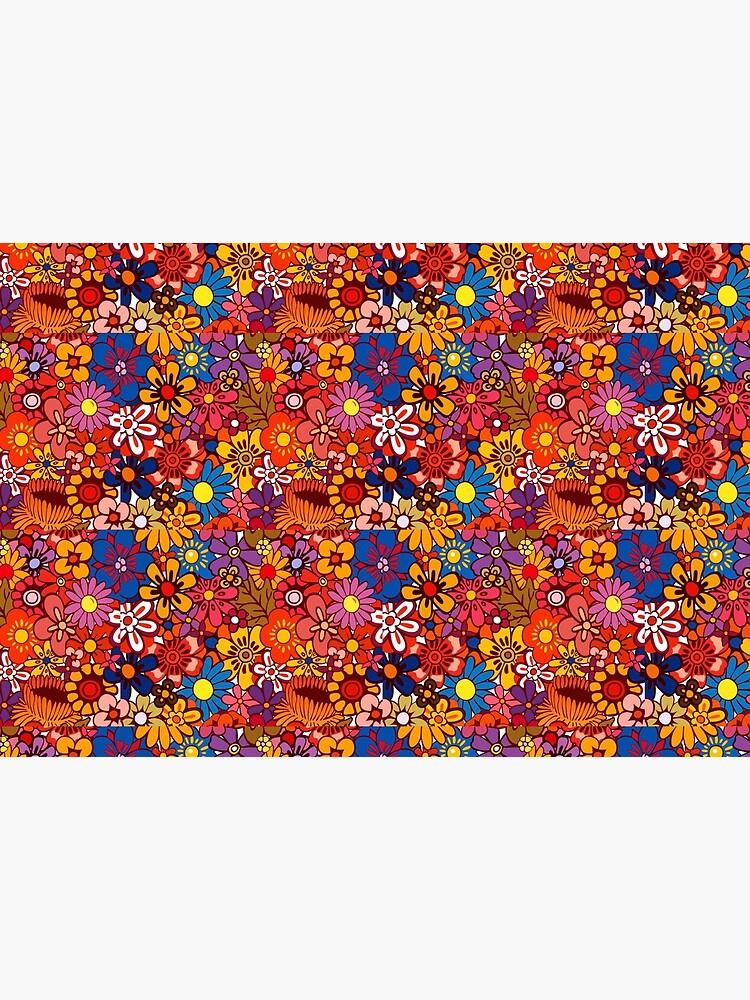Orange/Pink Retro Flowers by SockSandwich
