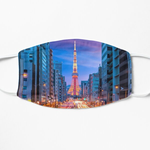Tokyo Street with Tokyo Tower Flat Mask