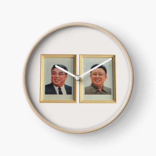 Kim Il-Sung & Kim Jong-Il Portrait, North Korea DPRK #1 Clock