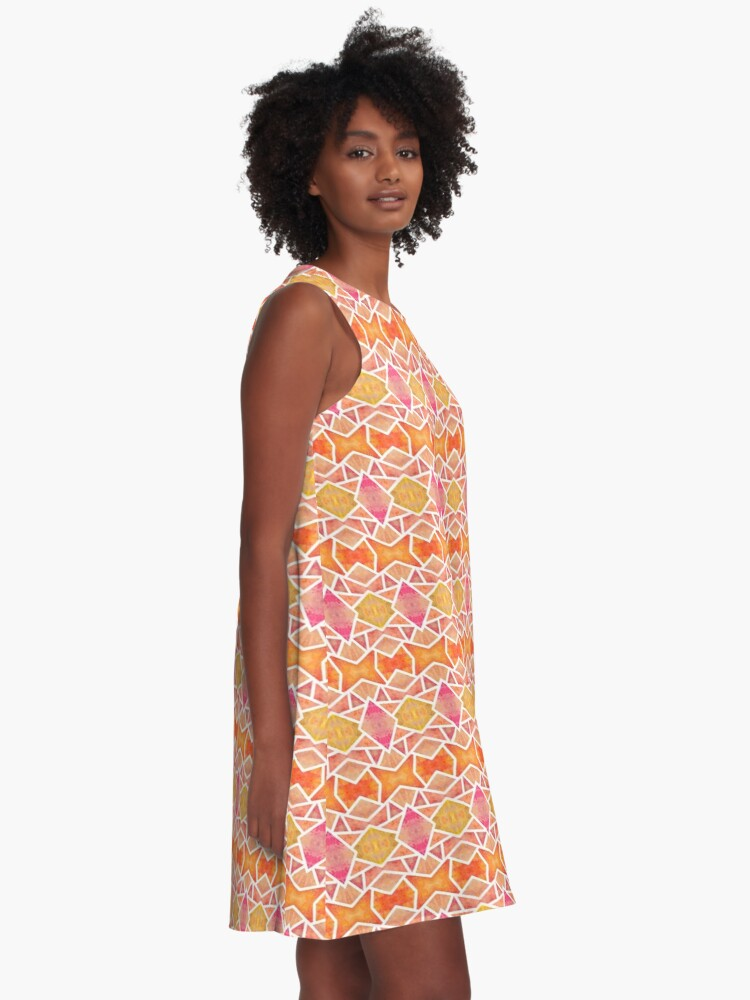 Robe trapèze ''Mosaïque Orange ': autre vue