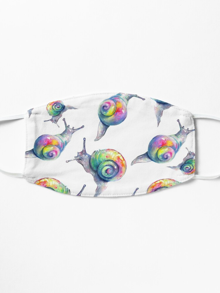 Alternate view of Rainbow Snails Hand-Painted Pattern Mask