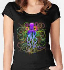 Octopus Psychedelic Luminescence Women's Fitted Scoop T-Shirt