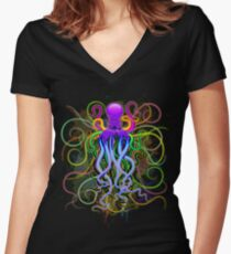 Octopus Psychedelic Luminescence Women's Fitted V-Neck T-Shirt