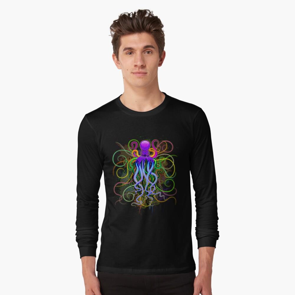 Pulpo de luminiscencia psicodélica Camiseta de manga larga