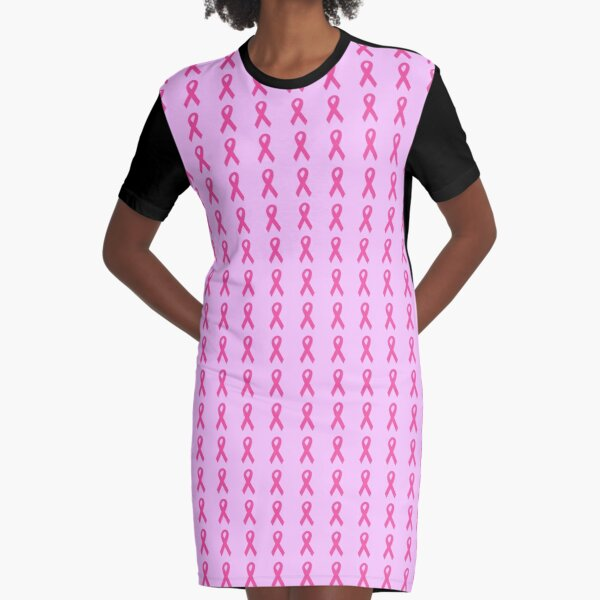 Dark Pink Ribbons on Light Pink Graphic T-Shirt Dress