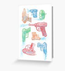Watercolor Waterguns Greeting Card
