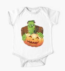 Frankenstein Monster Cartoon with Pumpkin One Piece - Short Sleeve