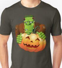 Frankenstein Monster Cartoon with Pumpkin Unisex T-Shirt