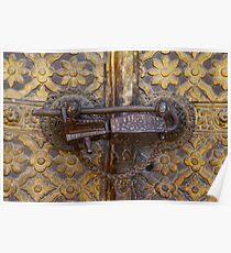 Antique lock, Royal Palace, Patan, Nepal Poster