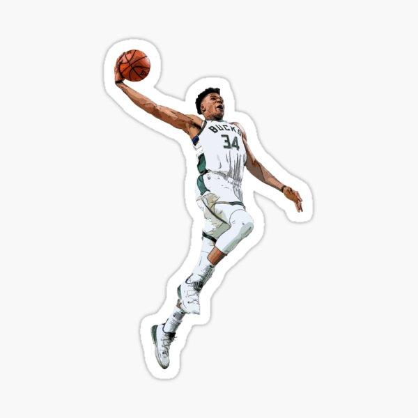 Giannis Antetokounmpo Dunking Basketball T-shirts & Stickers - Milwaukee Bucks Sticker
