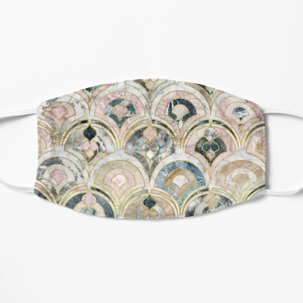 Art Deco Marble Tiles in Soft Pastels Flat Mask