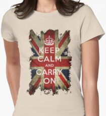 Vintage Keep Calm and Carry On and Union Jack Flag Womens Fitted T-Shirt