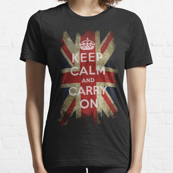 Vintage Keep Calm and Carry On and Union Jack Flag Essential T-Shirt