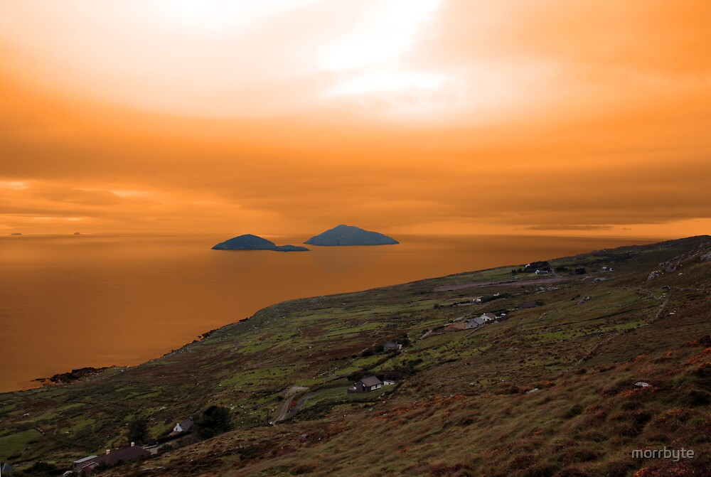 scarriff island view with red sky by morrbyte