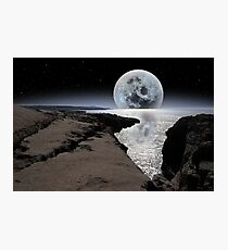 shimmering moon and boulders in rocky burren landscape Photographic Print