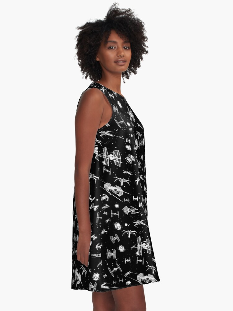 Alternate view of Space Ship Battle A-Line Dress