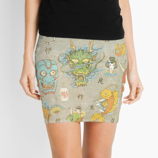 Japanese Collage Mini Skirt