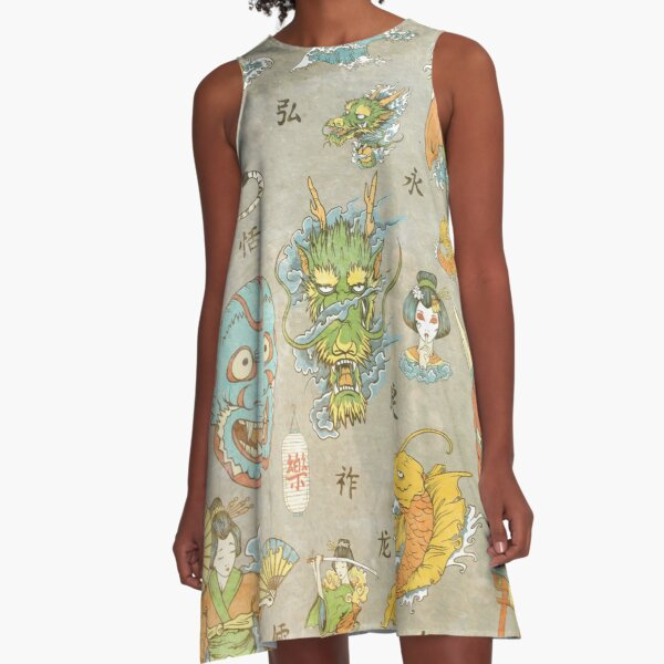 Japanese Collage A-Line Dress