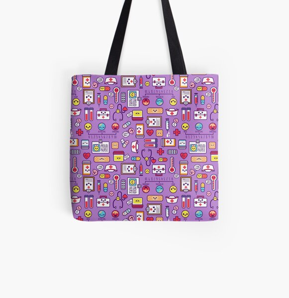 """Proud to Be a Nurse"" Pattern / Purple All Over Print Tote Bag"