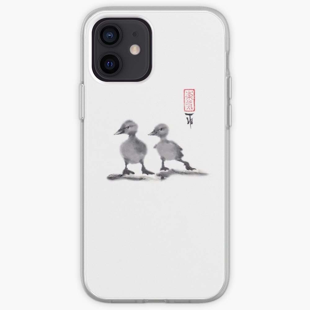 """print of original painting Japanese sumi-e """"Two duckling friends"""" iPhone Case & Cover"""